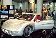 Virago Supercar with photo model at Top Marques Monaco, Grimaldi Forum in Monaco